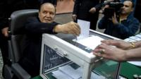 "Algeria""s President Abdelaziz Bouteflika casts his vote"