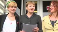 Caroline Lucas outside Brighton Magistrates' Court