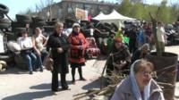 People at a gathering of the self-declared people's Republic of Donetsk