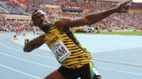 Jamaica's Usain Bolt celebrates after winning the men's 4x100m relay final at the 2013 IAAF World Championships in Moscow on 18 August