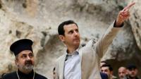 President Bashar al-Assad (right) visits the Christian village of Maaloula, near Damascus, Syria