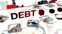 A graphic showing the word debt