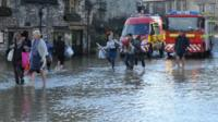 View of Bradford on Avon during the flooding in December 2013