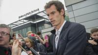 Andy Murray with some fans in Stirling
