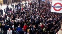 Queues outside Liverpool Street station