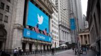 Twitter logo outside the New York Stock Exchange