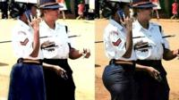 Policewoman in tight skirt