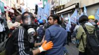 A BBC crew followed some of the demonstrators attending a protest in Istanbul's central Taksim Squa