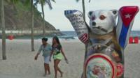 One of the United Buddy Bears on Copacabana beach