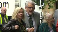 Rolf Harris arrives at Southwark Crown Court with his wife and daughter