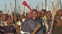 Platinum miners on strike in SA