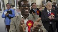 A member of the Labour Party celebrates in Croydon