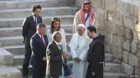 Pope Francis and members of the Jordanian Royal Family visit the site at Jordan River where Jesus is believed to have been baptized