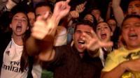 Real Madrid fans celebrating