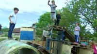 Children play in The Land, Wrexham