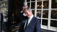 UKIP leader Nigel Farage has a pint in the Westminster Arms, London