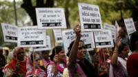 "Demonstrators from All India Democratic Women""s Association (AIDWA) stage a protest against the rape and killings of two teenage girls, New Delhi, 31 May 2014"
