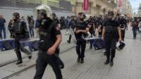 Police in Istanbul's main boulevard