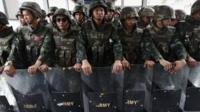 Thai troops line up in Bangkok