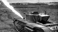 Flame-throwing tank