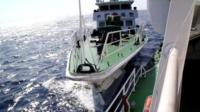 Footage of a collision between a Chinese coastguard vessel and a Vietnamese ship in the South China Sea.