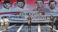 Indonesian presidential candidates during TV debate