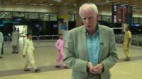 Mike Wooldridge inside Karachi airport