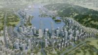 A computer image of a city