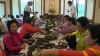 Korean women eating