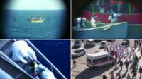 Clockwise from top left- migrant vessel seen through telescope, rescuers reach migrants, migrant child brought aboard rescue ship, ambulance arrives to transport migrants