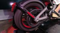 Close-up look at electric motorcycle made by Harley-Davidson