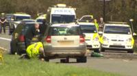 The crash scene on the A337 near Lyndhurst