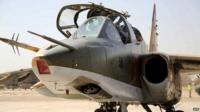 A Sukhoi Su-25 fighter jet recently delivered by Russia sitting at an army base in the capital Baghdad