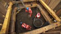 Archaeologists at the Crossrail site