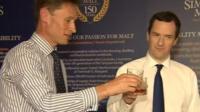 George Osborne drinking whisky with businessman