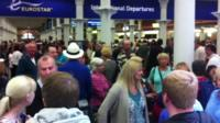 Queues at Eurostar departures terminal