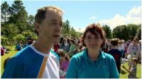 Baton bearer Tom Mathieson and Active School co-ordinator Louise Nadin
