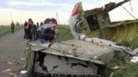 What appears to be part of the wreckage of Malaysian jet crash in Ukraine