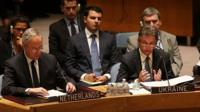 Ukrainian Ambassador Yuriy Sergeyev speaks at an emergency session of the United Nations (UN) Security Council