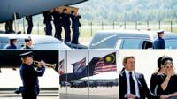 Clockwise from top, a coffin is carried off a military plane at Kharkiv, the Dutch king and queen, hearses seen behind flags at half mast, the Last Post is played
