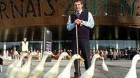 Meirion Owen with dog and ducks
