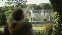 Tourist visits a Welsh castle