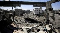 A general view over rubble of destroyed houses in a town in the northern Gaza Strip