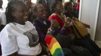 activists smiling in court
