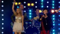 Kylie Minogue and Lulu performing at closing ceremony of Commonwealth Games 2014 in Glasgow