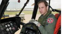 Duke of Cambridge at the controls of a Sea King helicopter