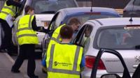 School pupils stop drivers
