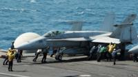 US jet on aircraft carrier
