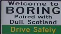 Boring town sign