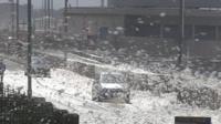 Sea foam 'snow' on the Flyde coast